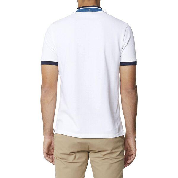 New Script Contrast Collar Polo White, WHITE, hi-res