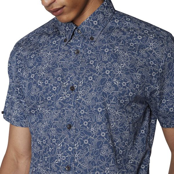 Retro Floral Shirt, NAVY, hi-res