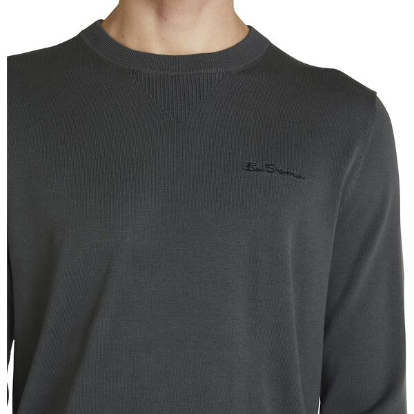 BASIC KNITTED CREW KNIT, CHARCOAL, hi-res