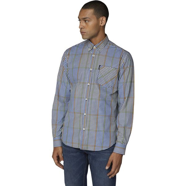 Ls Blocked Gingham Shirt Dark Navy
