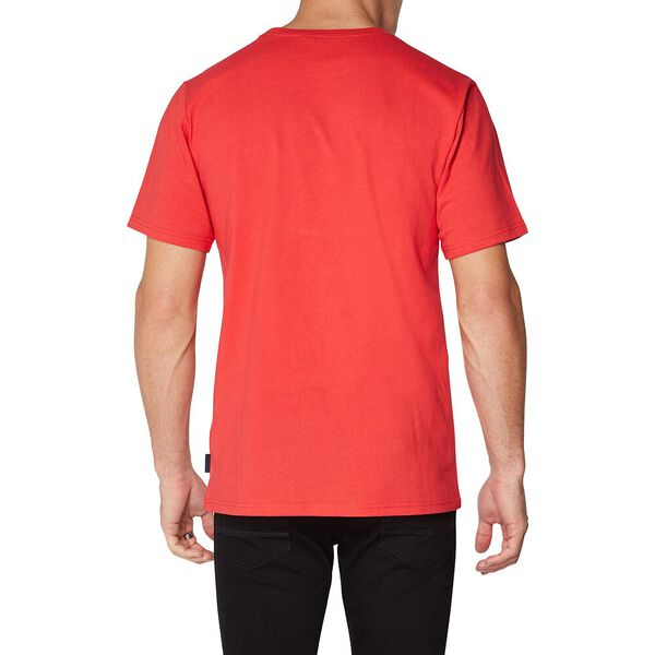 LOGO COLOUR BLOCK TEE RED, RED, hi-res