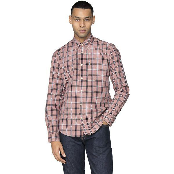 Slub Stripe Check Shirt, ROSE, hi-res