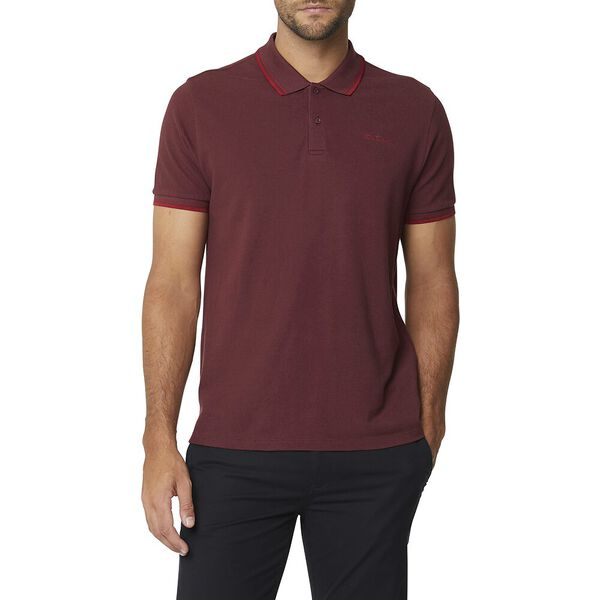 Basic Script Polo With Tipping Bordeaux