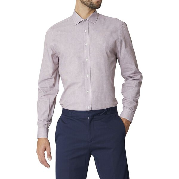 Ls Formal Kings Cross Hatch Shirt Burgun