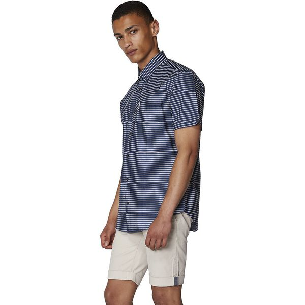 Distressed Stripe Shirt, NAVY, hi-res