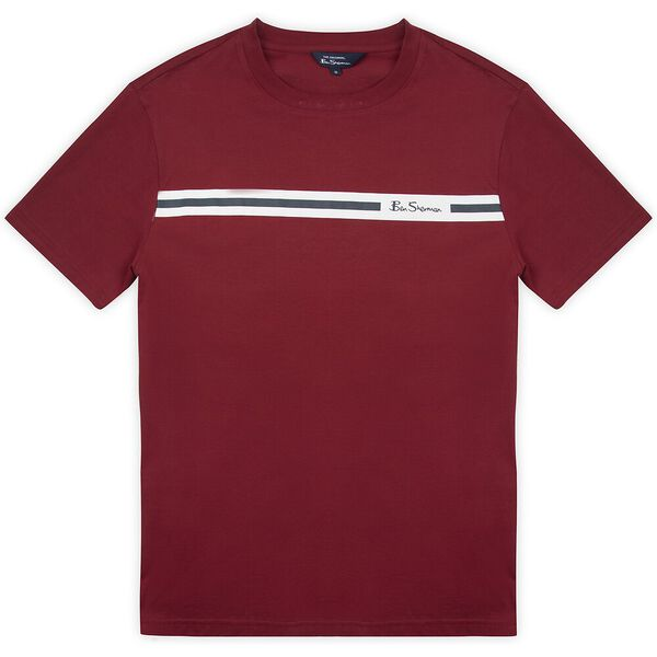 PRINTED CHEST STRIPE TEE, RED, hi-res