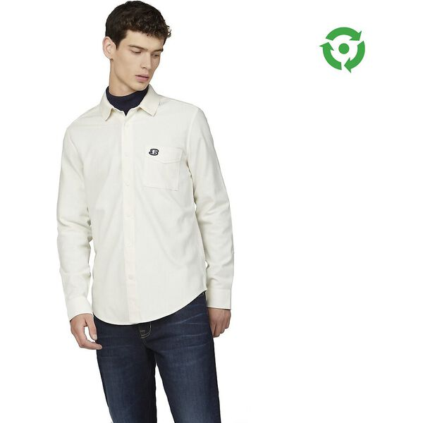 RECYCLED COTTON RIB COLLAR SHIRT