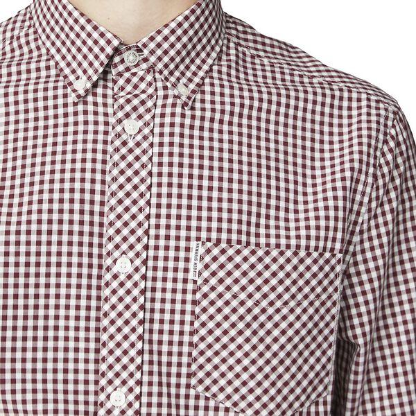 Gingham Shirt, DARK RED, hi-res
