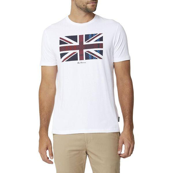 Tartan Union Jack Tee White, WHITE, hi-res