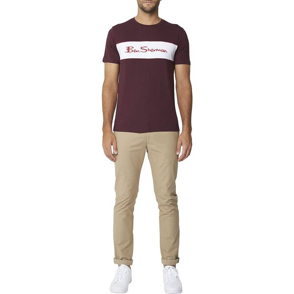 Contrast Piping Tee Wine, WINE, hi-res