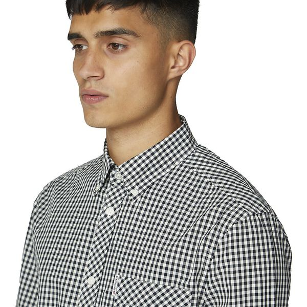 GINGHAM SHIRT, BLACK, hi-res