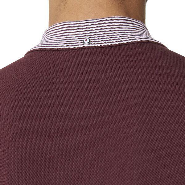 Stripe Collar Polo Wine, WINE, hi-res
