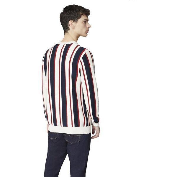 KNITTED MOD STRIPE CREW, IVORY, hi-res