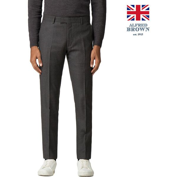 BRITISH CREPE WEAVE GINGHAM TROUSER