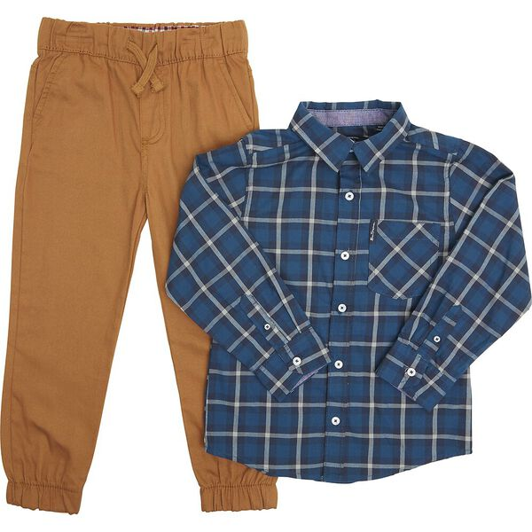 LS SHIRT AND TROUSER PACK TEAL/BROWN, TEAL/BROWN, hi-res