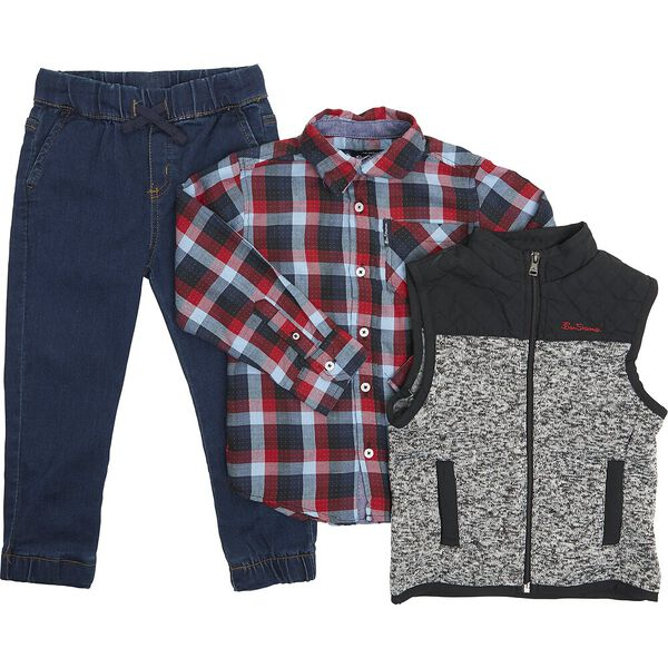 3 Piece Set With Vest Red/Grey