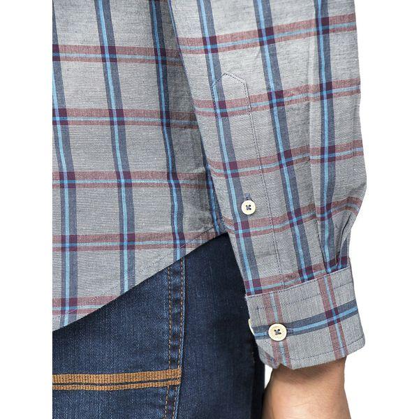 Slub Stripe Check Shirt, DARK NAVY, hi-res