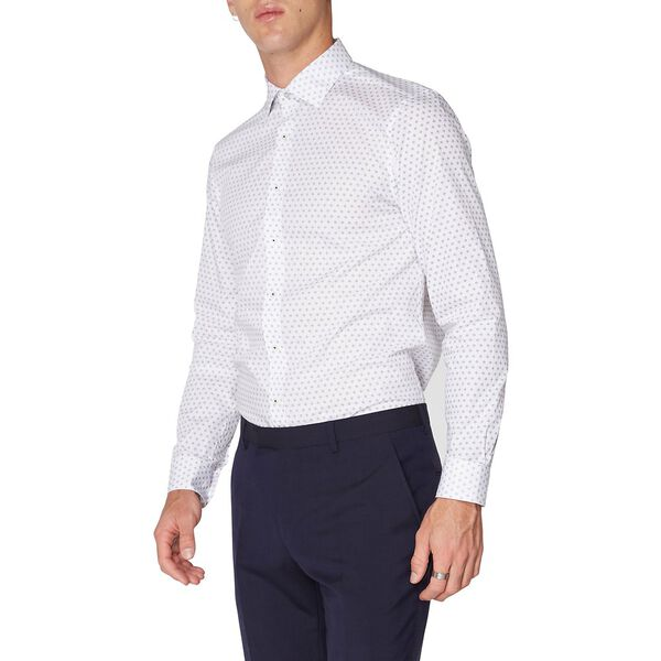 Formal Micro Print Kings Shirt, STAPLES NAVY, hi-res
