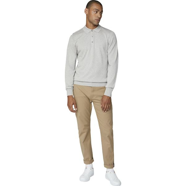 L/S COTTON POLO GREY, GREY, hi-res