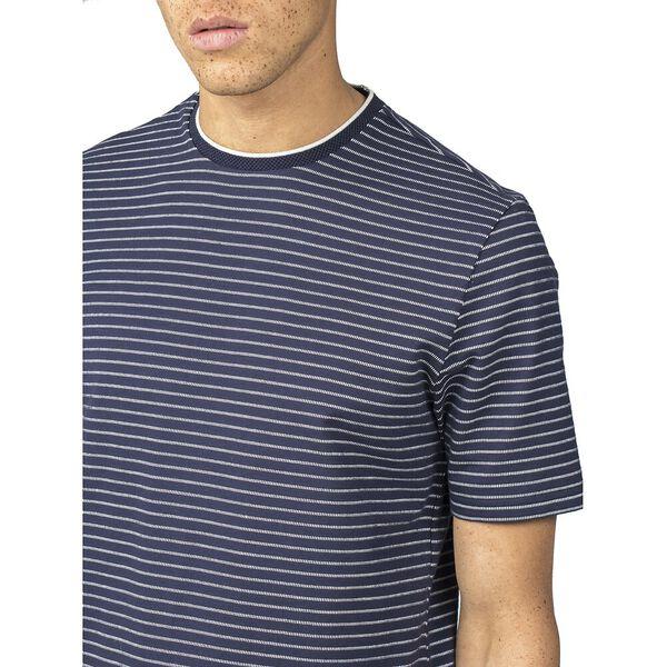 Tonal Stripe Jersey Longline T-Shirt, DARK NAVY, hi-res