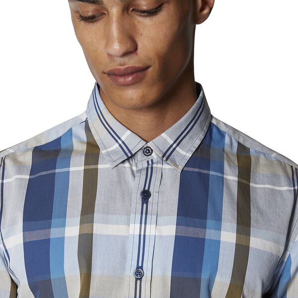 MADRAS CHECK SHIRT, NAVY, hi-res