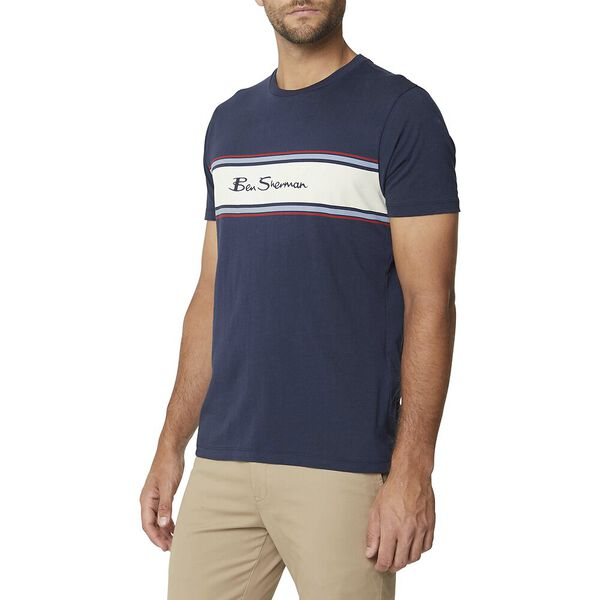 Chest Stripe Logo Print Tee Dark Navy, DARK NAVY, hi-res