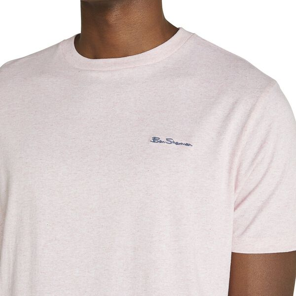 CHEST EMBROIDERY TEE, CHALK PINK MARL, hi-res