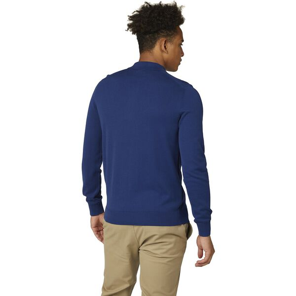SIGNATURE COTTON LONG SLEEVE POLO, INK, hi-res