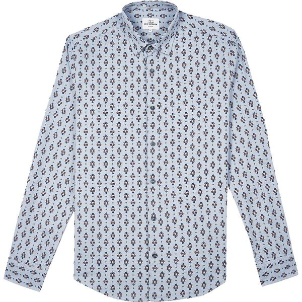 LS SCATTERED FAIRISLE SHIRT DARK BLUE, DARK BLUE, hi-res