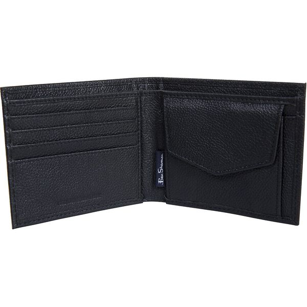 CLAYTON LEATHER WALLET WITH COIN POCKET, BLACK, hi-res
