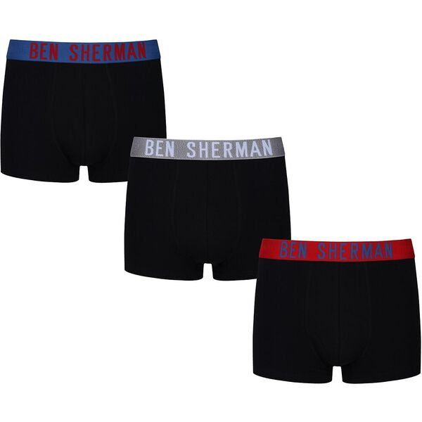 Carl 3Pk Trunks Black With Red/Grey/Delf