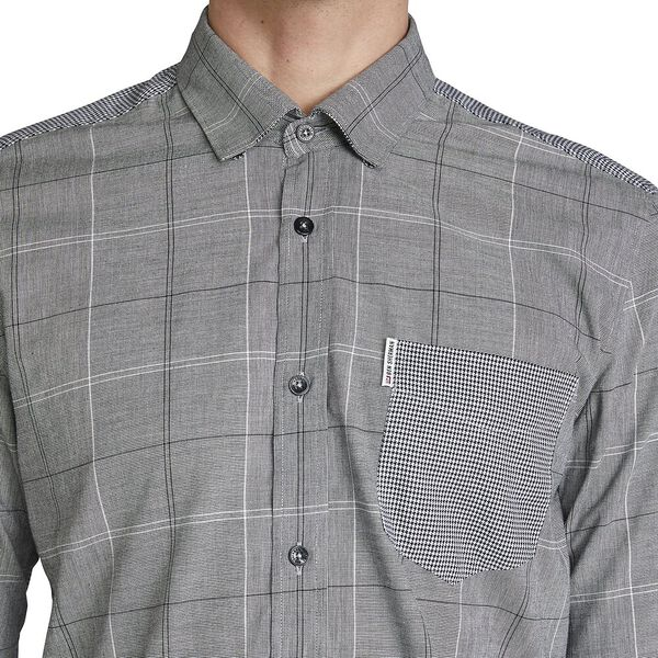 MIXED FABRIC SHIRT, ANTHRACITE, hi-res