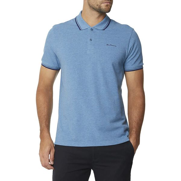 Basic Script Polo With Tipping Teal Blue, TEAL BLUE MARL, hi-res