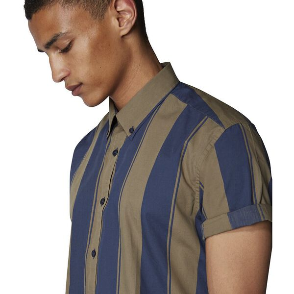 GRAPHIC STRIPE SHIRT, KHAKI, hi-res