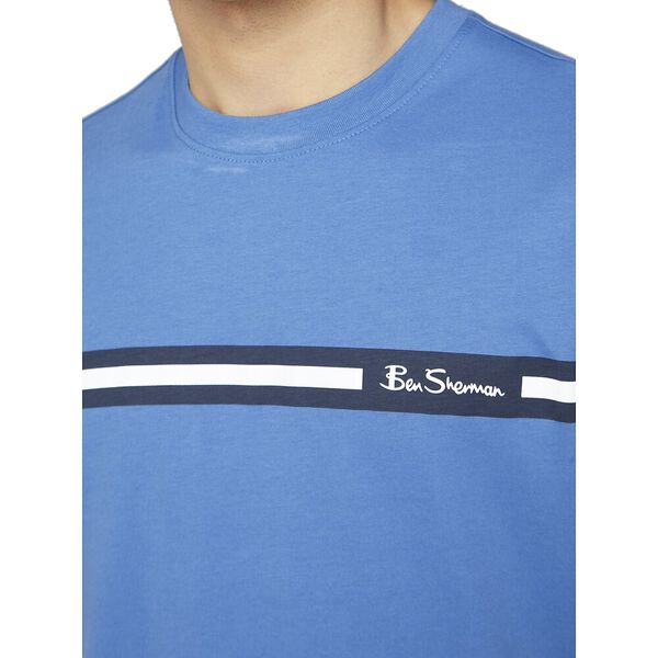 PRINTED CHEST STRIPE TEE, ROYAL BLUE, hi-res