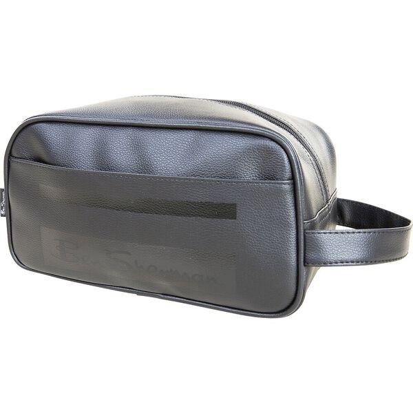 Stripe Mod Pu Washbag Black, BLACK, hi-res