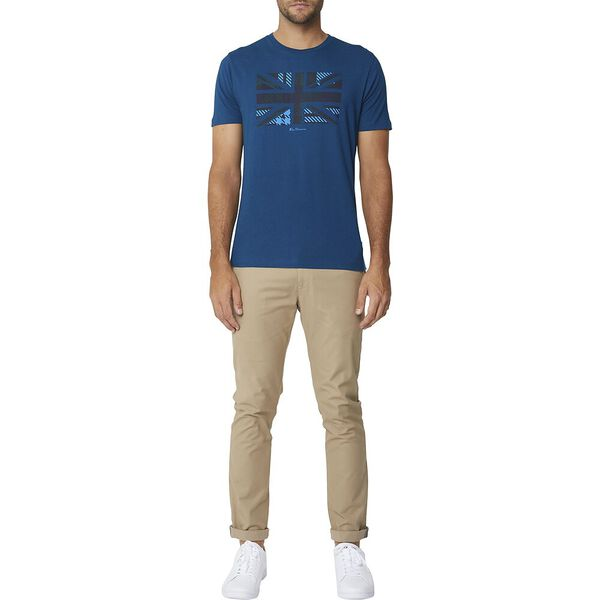 Tartan Union Jack Tee Lake Blue, LAKE BLUE, hi-res